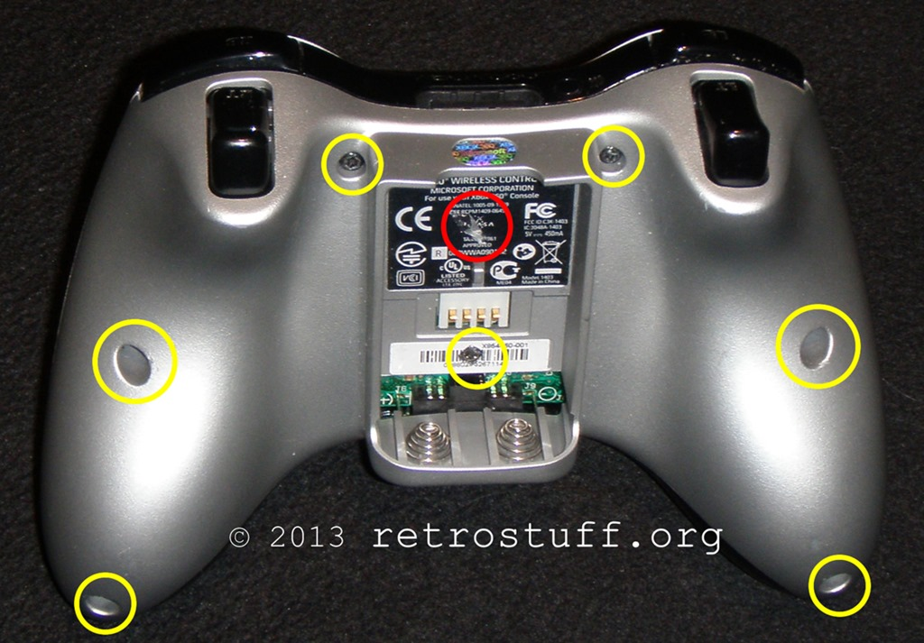 Xbox 360 Controller Screw Locations