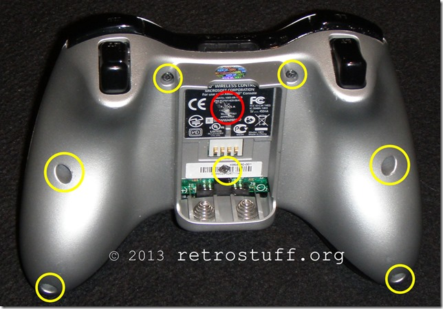 Xbox 360 Controller screw locations