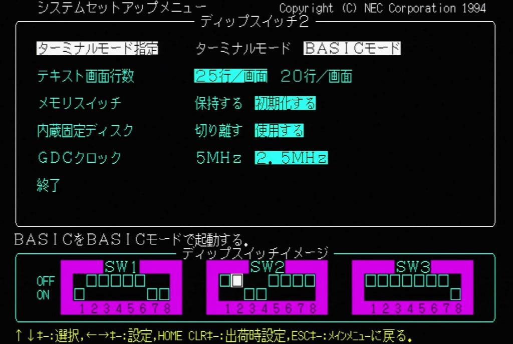 PC9821 BIOS - Terminal Mode Specification