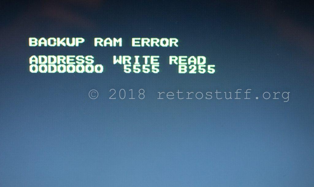 BACKUP RAM ERROR WRITE 5555 READ B255