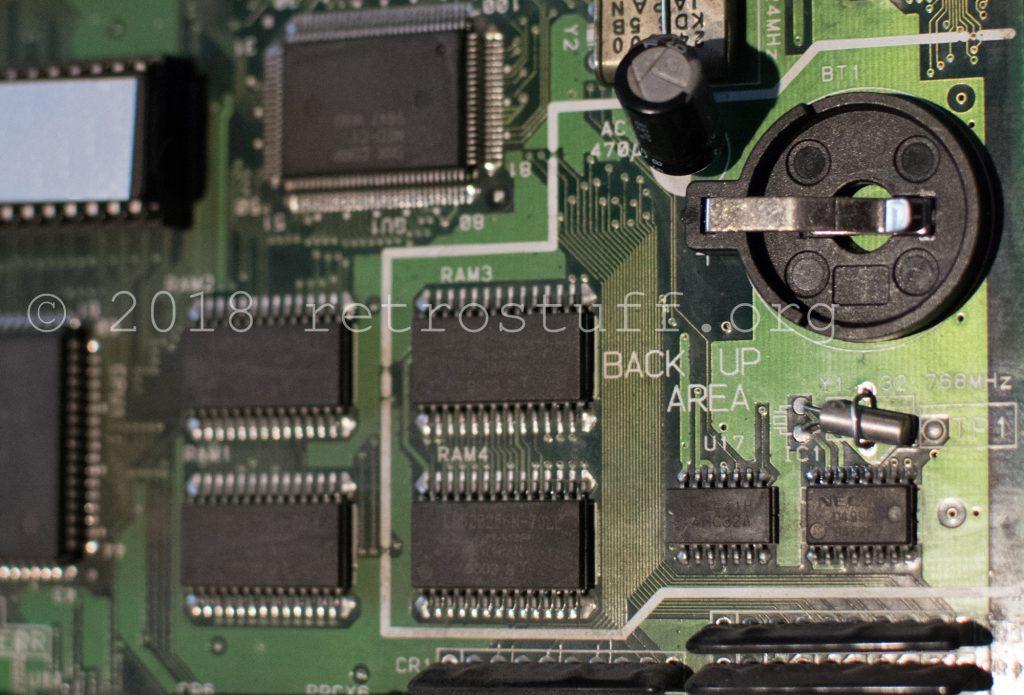 Backup RAM area - battery holder