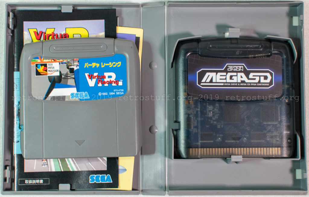 MegaSD cartridge in Virtua Racing box
