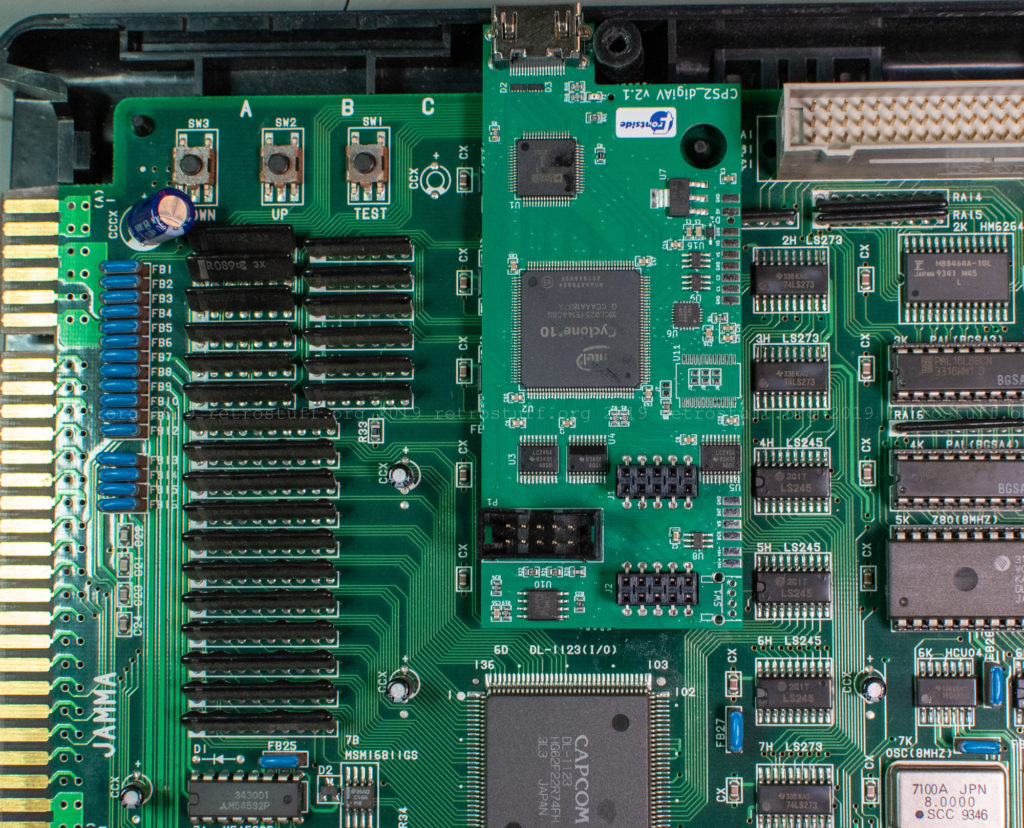 CPS2 digital AV interface: Interface PCB with 2x5 sockets attached to the headers