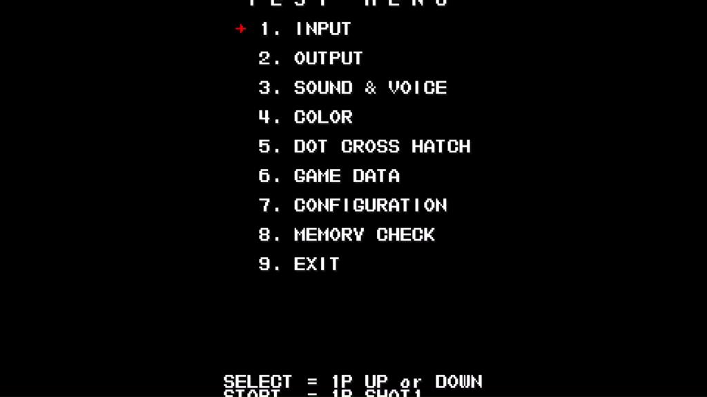 CPS2 digital AV interface: Mars Matrix test menu