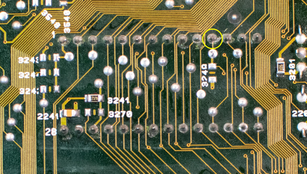 NVRAM socket solder joints