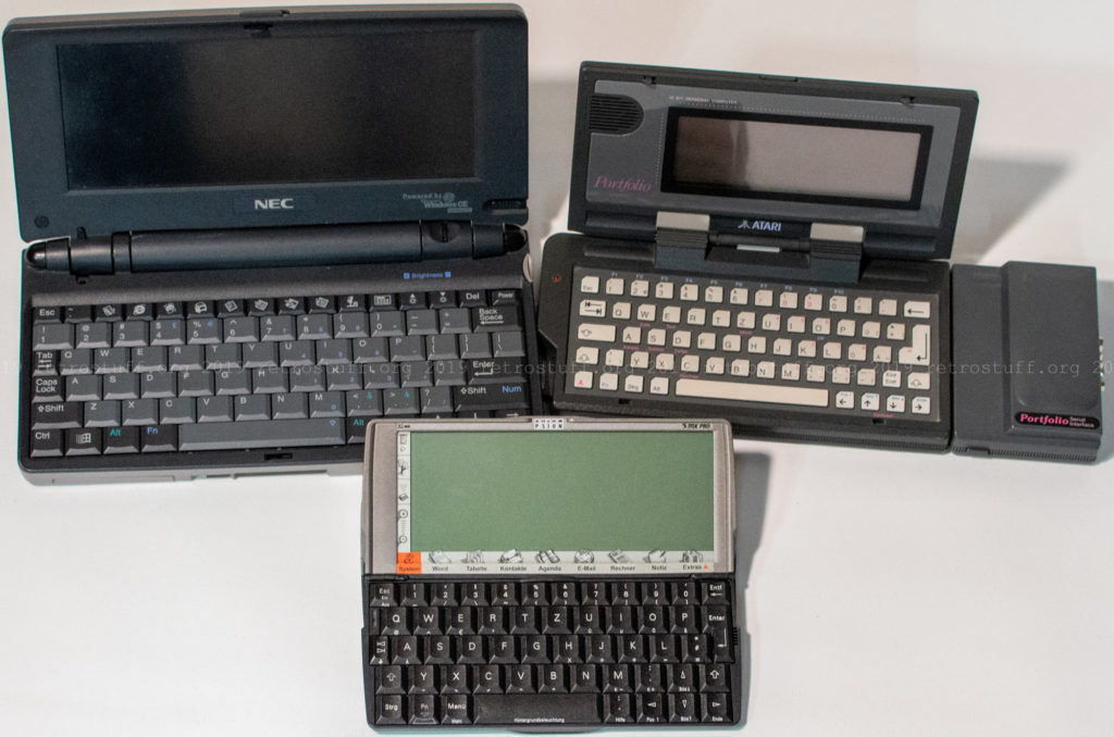 Psion Serie 5mx Pro, Atari Portfolio and NEC MobilePro 780
