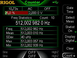 Rigol DG1022Z frequency counter