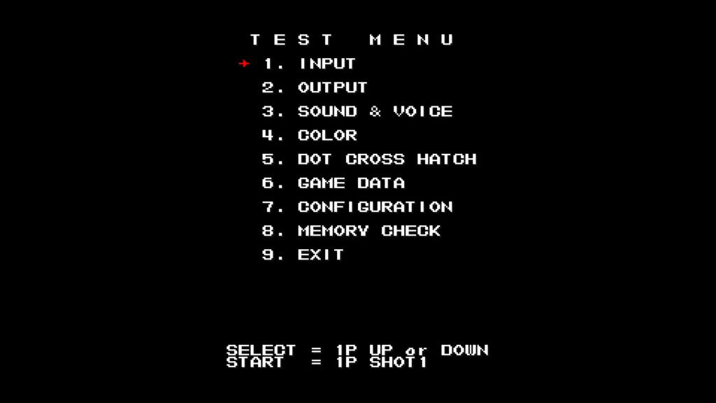 CPS2 digital AV interface: Mars Matrix test menu (1080p 4x)