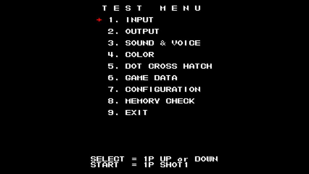 CPS2 digital AV interface: Mars Matrix test menu (720p)
