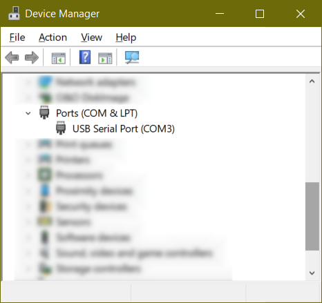 Windows Device Manager - USB Serial Port