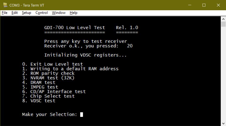 DVS VE-200 Low-level test menu