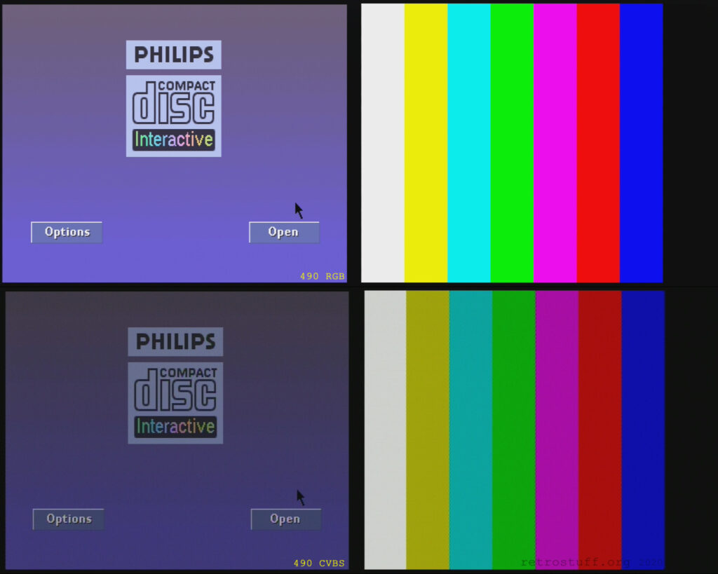 Philips CDI490 (bad RGB) player shell and colour bars