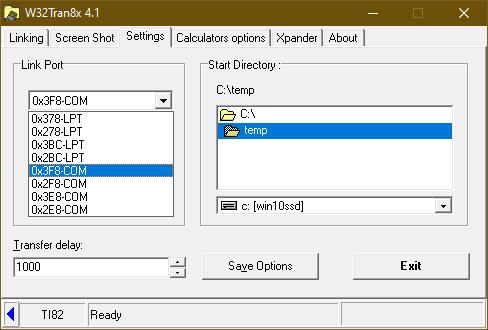 W32Tran8x 4.1 - Settings