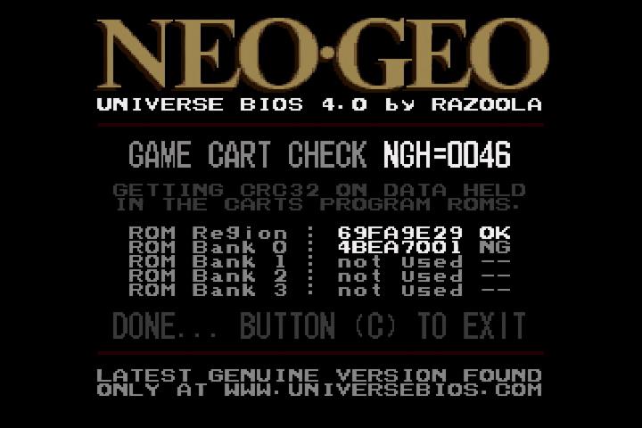Universe BIOS Game Cart CRC Check (bad)