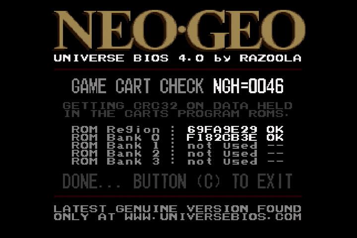 Universe BIOS Game Cart CRC Check (good)