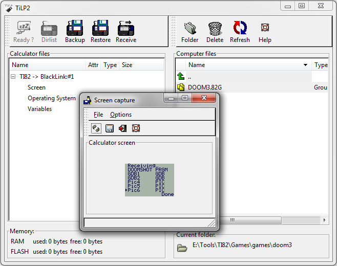 TiLP II - main and screen capture windows
